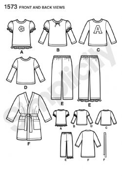 1573 Simplicity Pattern: Toddlers' and Child's Loungewear